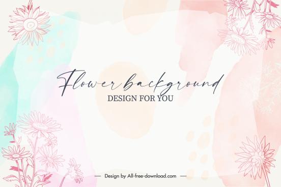 floral background template elegant classical bright blurred decor
