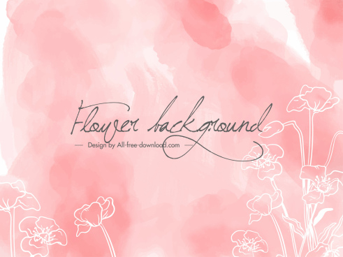 floral background template flat handdrawn sketch classical design