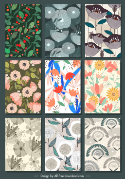 floral background templates colorred retro design