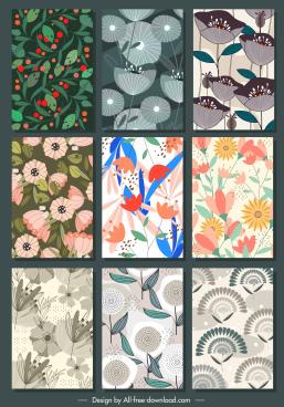 floral background templates colorred retro design