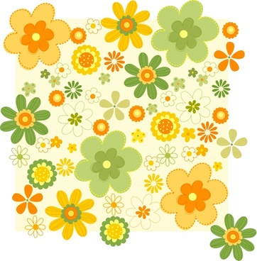 floral background colorful petals icons decor flat design