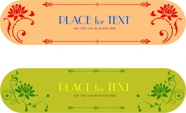 floral banners collection rounded horizontal design style