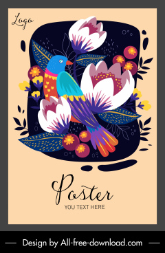 floral bird poster template colorful classic design