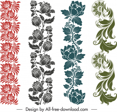 floral border templates vertical elegant classic seamless decor