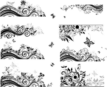 floral border with butterflies design vector