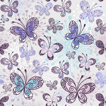 floral butterflies seamless pattern vector set