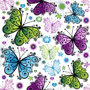 floral butterflies seamless pattern vector set