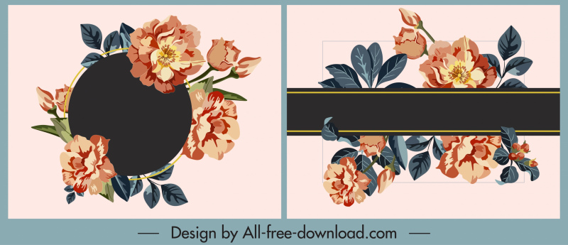 floral card templates elegant colorful decor