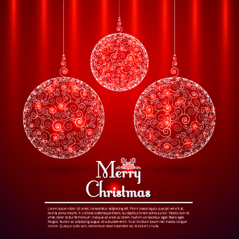 floral christmas ball red background vector