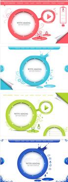 floral circular design frame vector