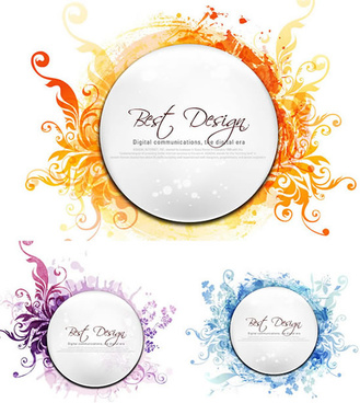 floral circular frame fashion vector