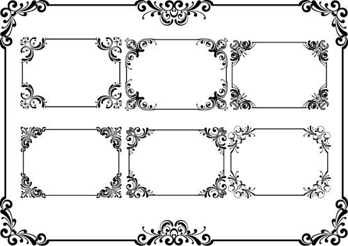 floral deco frame vintage vector