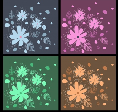 floral decor background sets flat hand drawn design