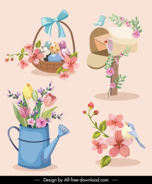 floral decor elements elegant classical symbols sketch