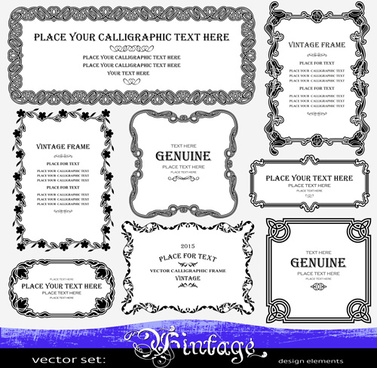 floral decor vintage frames vector set