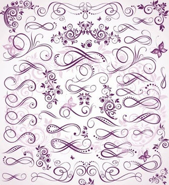 document design elements classical curves violet design