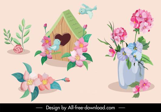 floral decorative elements bird nest sketch classical design
