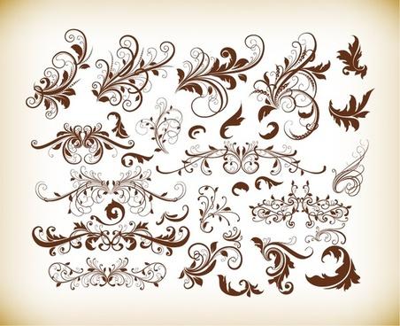 floral decorative ornament elements vector set
