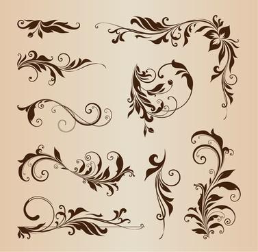 floral design element collection vector illustration