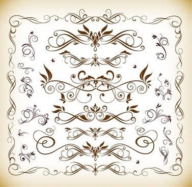 floral design elements vector illustration