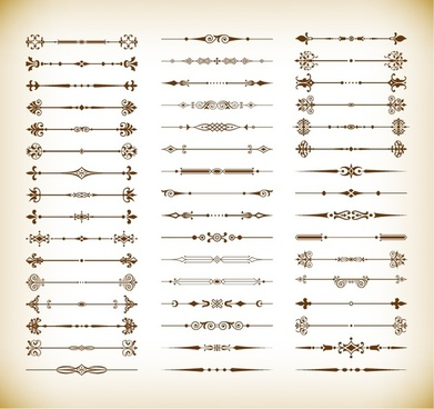 floral design elements vintage dividers vector set