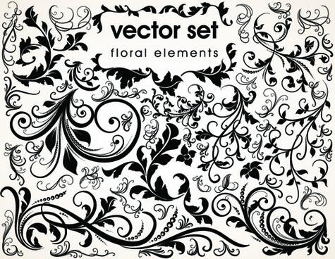 floral design ornaments elements mix vector