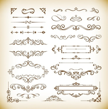 floral design useful elements vector illustration set