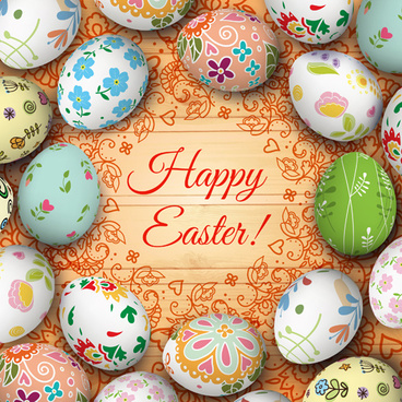 floral easter egg background vector