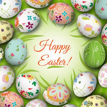floral easter egg background vector