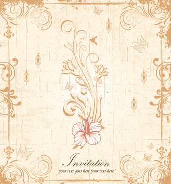 Floral Elegant Invitation Cards Vector Set