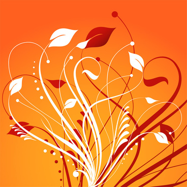 floral element on orange background