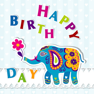 floral elephants with happy birthday background vector