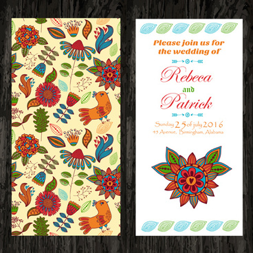 floral ethnic pattern wedding invitations vector set