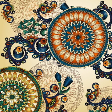 floral ethnic patterns background art graphics