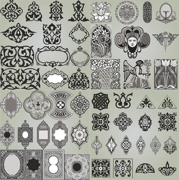 floral exquisite ornaments vector