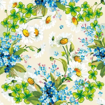 Floral Flowers Blue background