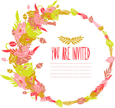 floral frame invitation card retro vector