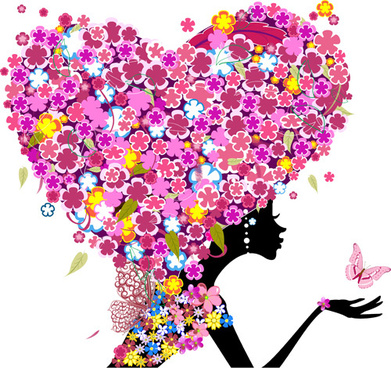 floral girls with valentine vector