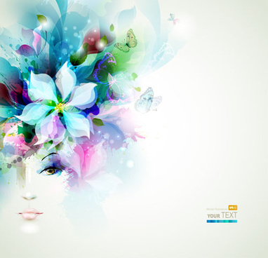 floral girls with watercolor vector background
