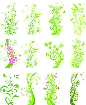 floral green ornaments vector set