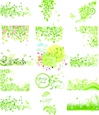 floral green ornaments vector set