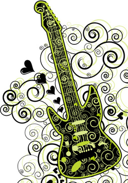floral guitar creative vector