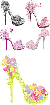 floral high heel shoe design vector