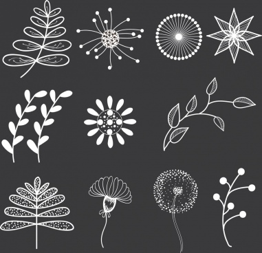 floral icons collection various black and white design