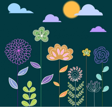 floral icons design colorful cartoon style