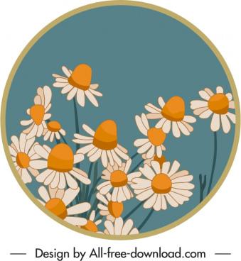 floral label template elegant classic petals sketch