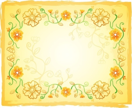 floral background flat classical yellow decor