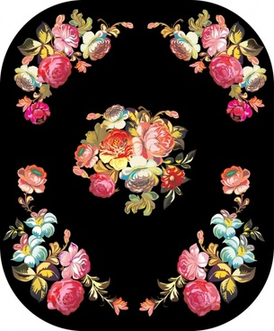 floral background colorful dark design classical symmetric ornament