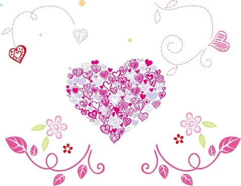 Floral Love Heart Vector Graphic