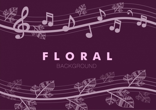 floral music notes seamless pattern violet curves design